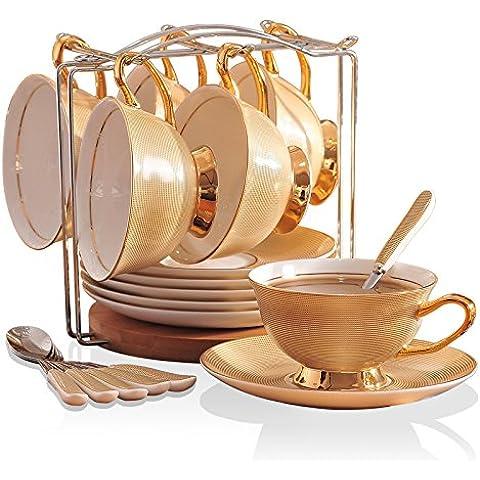 MSRRY In stile europeo bone china tazza da caffè in porcellana kit teacups tè Oro , Oro, set di 6 pezzi con scaffalature in legno