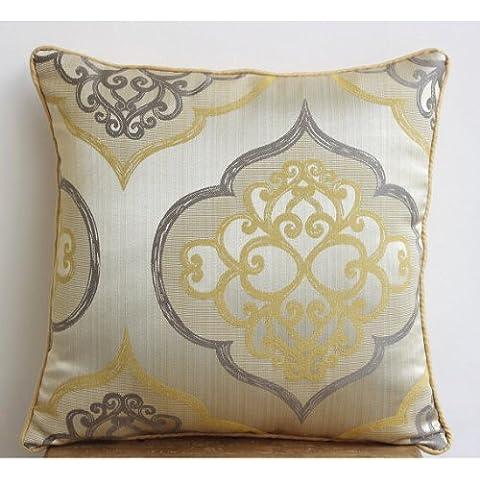 Amarillo Cojines Cubren, Damasco Cojines Cubren, cojín cubre 50x50 cm, Floral Contemporáneo Cubierta De Almohadas, Jacquard Fundas De Almohada - Damask
