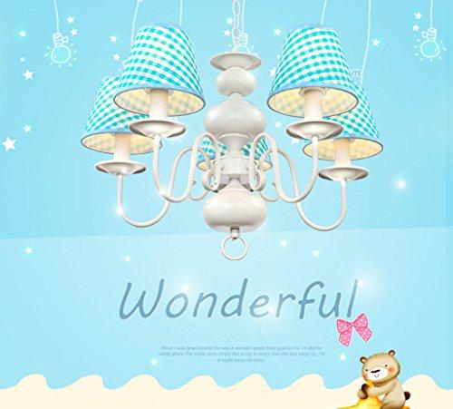 Neue Kronleuchter einfachen Tuch schöne Beleuchtung Rauch blaue LED Junge Doppellampenschlafzimmerlampe hängen