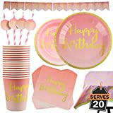 102 Piezas Color Rosa y Dorado para Celebración de Cumpleaños Infantil - Artículos de Fiesta Desechables de Cartón - Vasos, Platos, Mantel, Servilletas y más - Accesorios de Vajilla y Decoración