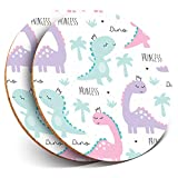 Destination Vinyl ltd - Posavasos (2 Unidades), diseño de Princesa con Dinosaurios