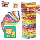 Nene Toys - Torre di Blocchi in Legno 4 in 1 con Colori e Animali per Bambini - Gioco da Tavolo Educativo per Bambino Bambina dai 4 agli 8 anni -  Giocattolo Ideale come Regalo per Genitori e Figli