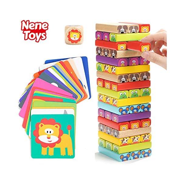 Nene Toys - Torre Magica Colorata in Legno con Animali – Gioco Educativo da Tavolo per Bambini - Gioco Didattico 4 in 1… 1 spesavip