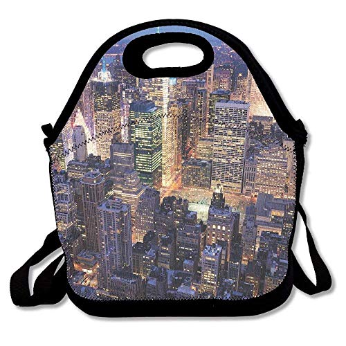 New York Aerial View of NYC Full of Skyscrapers Manhattan Times Square Famous Cityscape Latest Lunch Tote Lunch Bag School Reusable