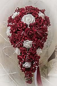 Brides Tropfenform in rot und weiß Schaumstoff-Rosen