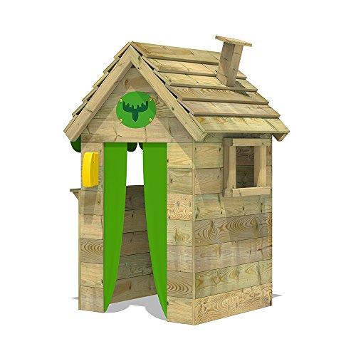 FATMOOSE Kinder-Spielhaus BeetleBox Bling XXL Spielhaus Garten Holz mit hoher Theke und Dach mit Schornstein - 2