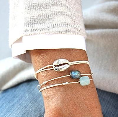 Bracelet cordon au choix coquillage cauri en argent 925