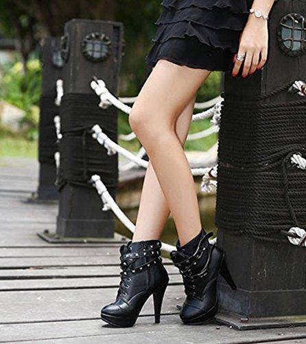 Padgene High Heels Plateau PU Leder Stiefel Stiletto