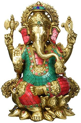 Gott Ganesha Statue sitzend auf lotus- Hindu Lord Of Wohlstand & Fortune ergänzen figurine- Messing Metall mit Türkis Indien handgefertigt Elefant Gott Idol + Cash Umschlag (10Stück) (Türkis Elefanten-statue)