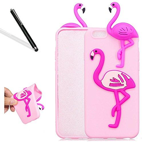 3D Hülle fü iPhone 6S (4.7 Zoll),Karikatur Hülle fü iPhone 6,Leeook Lovely Cute 3D Schwarz Panda Cartoon Muster Entwurf Ultra Dünn Soft Flex TPU Silikon Schutzhüllen Cover Schutzhülle Back Case Tasche 3D Rosa Flamingo