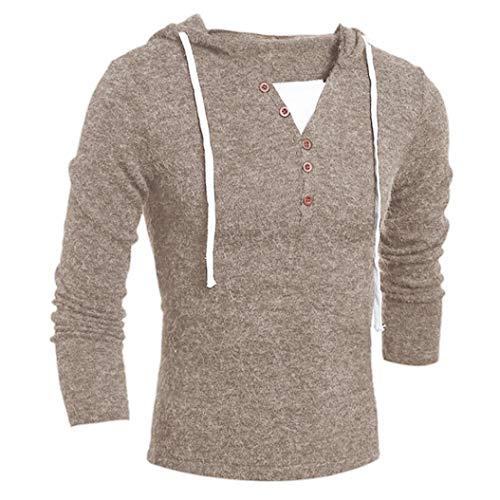 IMJONO Herren Herbst Winter Mode Kapuzenpullover Top Bluse (EU-48/CN-XL,Beige)
