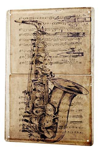 Blechschild Bar Party Wand Deko Saxophon Musikinstrument Metallschild 20X30 cm (Wohnungen Saxophon)