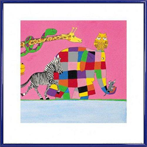david-mckee-poster-reproduction-et-cadre-plastique-les-copains-multicolores-delmer-llphant-40-x-40cm