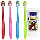 COM-FOUR® 4er Set bunte Kinder-Handzahnbürste Extra Soft und 50 ml Kinder-Zahncreme