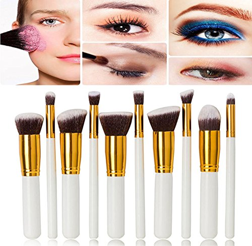 Demarkt Pinceau de Maquillage Kit 10pcs Professionnel Eyebrow Shadow Blush Fond De Teint Maquillage Outil Blanc