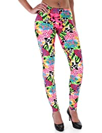 Distressed Animal Flower Neon Leggings S~M OneSize