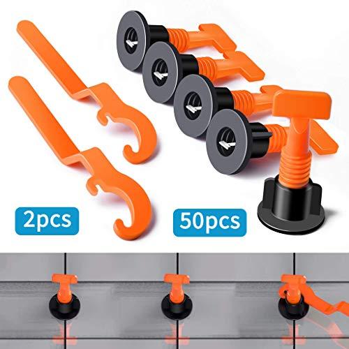 Keramische Fliesen-böden (Yncc Flache keramische Boden-Wand-Bau-Werkzeug-Wiederverwendbares Fliesen-Nivellierungs-System-Kit, Für Fliesenstärke 5MM-20MM (50 x Wiederverwendbares Fliesen-Nivellierungssystem, 2 X-Schlüssel))