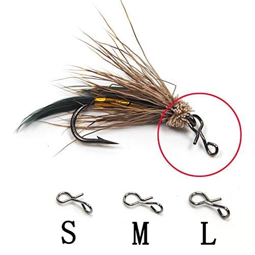 Schnellwechsel für Haken und Köder von LVEDU - 20 Stück, schwarz, zum Fliegenfischen, Karabinerhaken-Set von Karbiinerhaken aus Karbonstahl, Größe L/ M/ S, S (Fliegenfischen Haken Größen)