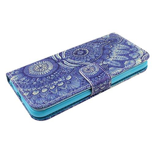 Apple iphone 6 Plus Case Cover, iphone 6S Plus custodia portafoglio, Pelle Custodia per iphone 6 Plus/6S Plus, Ukayfe Anti Scratch morbida copertura posteriore del silicone colorato Carino elefante Pa tribù fiore Blu