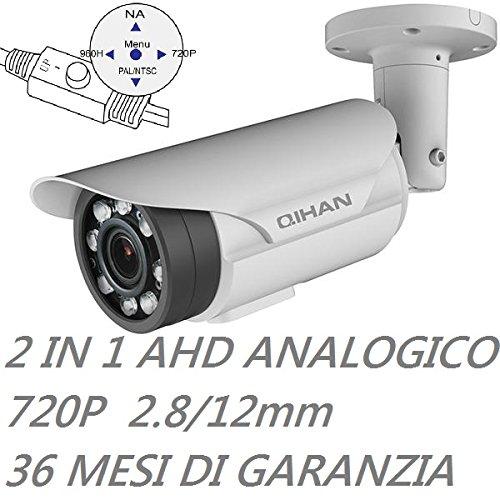 QIHAN® - Telecamera bullet videosorveglianza professionale 2 IN 1 AHD e Analogica con Joystick, 1.3 Mxp, 720P, 8 potenti Led Array, Ottica 2.8-12 mm, Chip 1/3 SONY EXMOR CMOS, Risoluzione 1280(H) x 720 (V), Impermeabile Grado di protezione IP67, Alimentazione 12V, Lingua Italano. mod: QHW351SCNO