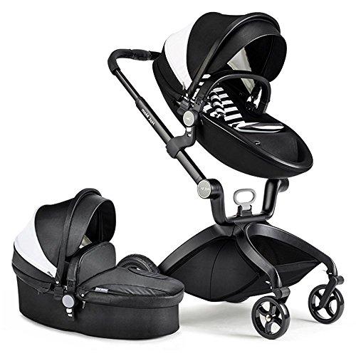 Hot Mom Limited Edition Kombikinderwagen und Buggy Sportwagen 3-in-1 Travelsystem 2016 mit Babywanne ,Schwarz