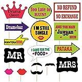 Kala Decorators Set Of 16 Multicolor Party,Wedding ,Marriage Party Props,Photo Booth Props,Bride To Be Props,Groom To Be Props For Wedding,Party Photo Booth Board (Wedding, Party)