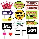#9: Kala Decorators Set of 16 Multicolor Party,Wedding ,Marriage Party Props,Photo Booth Props,Bride to be Props,Groom to be Props for Wedding,Party Photo Booth Board (Wedding, Party)