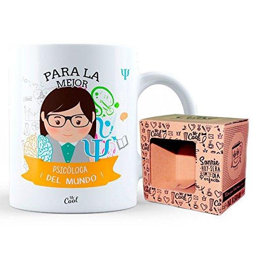 Mr Cool Taza 33 cl en Caja Regalo con Mensaje para la Mejor Psicóloga ¡del Mundo, Cerámica, 15x10x5 cm