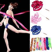 Mark8shop 4M Art Gymnastic Ballet Streamer Twirling Rod Stick Wand Dance Ribbon Rhyth