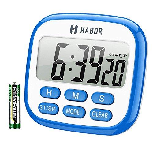 Habor Timer und Uhr 2 in 1 24H Küchentimer Digital magnetisch Kitchen großem LCD Bildschirm mit Lauter Alarm Countdown Retractable Stand Magnetic Backing für Kochen, Backen, Sport, Studieren, Blau