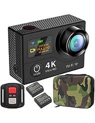 GreatCool Dual-Bildschirm 4K Actionkamera Wireless-Fernbedienung Camera Wasserdicht mit 2 Verbesserten Batterien und kostenlose