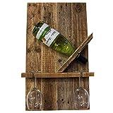 Palettenmöbel Flaschenregal Weinregal Easy für Eine Flasche und Zwei Gläser aus recycelten Palettenholz - Jedes Stück Ein Unikat aus Echter Handarbeit Made in Germany
