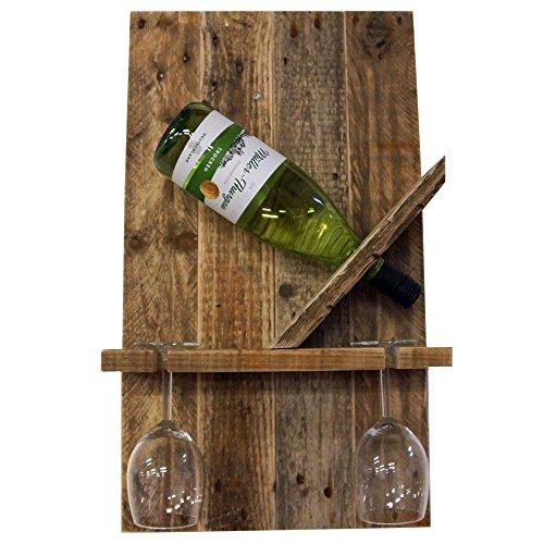 Palettenmöbel Flaschenregal Weinregal 'Easy' für eine Flasche und zwei Gläser aus recycelten Palettenholz - Jedes Stück ein Unikat aus echter Handarbeit Made in Germany