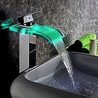 kunmai moderno LED cascata rubinetto miscelatore monoblocco alto da bagno in vetro Chrome