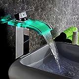KunMai, rubinetto da lavabo, miscelatore, a cascata, con LED, beccuccio monolitico in vetro curvo, colore: cromato/nero anticato Chrome