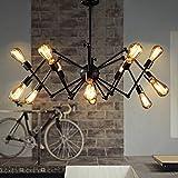 MMM- Amerikanischen Retro Kronleuchter Eisen Lampe Körper Eisen Lampenschirm E27 Retractable Spinne Kronleuchter (60-105 * 55-75 cm) ( größe : Twelve Head )