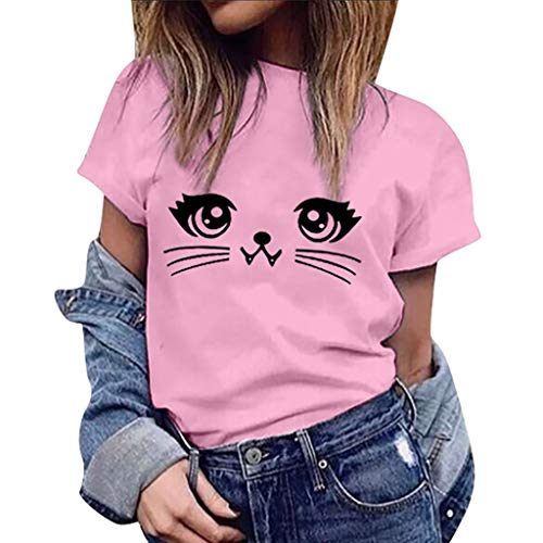 Top de Camiseta para Mujer, riou Top con Estampado de Gato de Verano ImpresióN Casua Elegantes Suelto Primavera Camisa Manga Corta Moda Redondo Cuello T Shirt