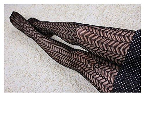 Distinct® Schwarz Jacquard Strümpfe Sexy Netzs Muster Strumpfhose