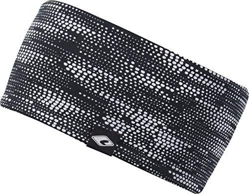 FEINZWIRN Kopfband Haarband Stirnband in vielen Farben für Freizeit Sport doppellagig (Black-reflektierend-2)