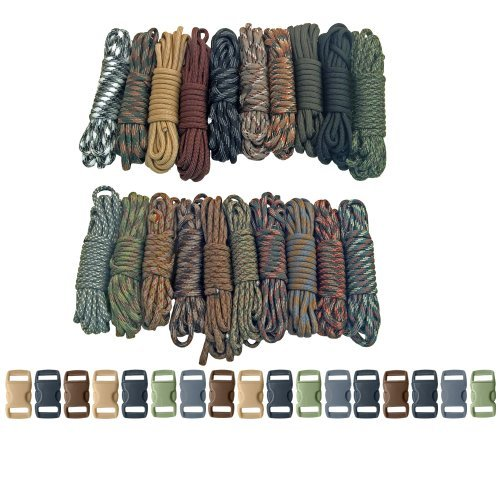 Paracord Planet Survival & Emergency Paracord Bracelet Kits (Cobra Braid Instructions Included) Unique Kits Ranging From 30 to 200 Feet in Total Length of Cord Dash Kit Combo