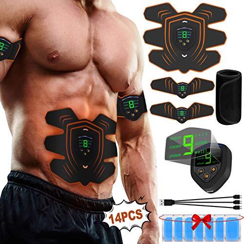 A-TION EMS Trainingsgerät für Bauch Arm Beins, Muskelaufbau Elektrostimulation mit LCD-Display Home Fitness Muskel Trainer Frauen Männer (Gel Pads 14pcs + Sauna Bauchweggürtel)
