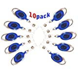 #6: 10 Pcs I.D. Card Retractable Holder Oval Badge Yo Yo Clip Blue