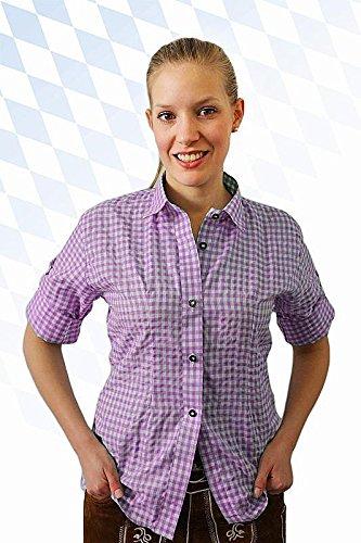 Klassisches DamenTrachtenhemd 3/4 Arm Farbe rot, hellblau oder lila Gr. 32-50 (40, lila)