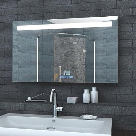 Spiegel mit beleuchtung und uhr  Badezimmerspiegel Wandspiegel Lichtspiegel LED Beleuchtung Uhr ...