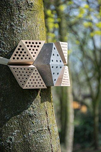 """Luxus-Insektenhotels 22660e Design-Insektenhotel """"Quartier"""" 5 Module: Beton, Eiche, Esche, 2x Buche, Insektenhaus für Wildbienen, Maße je Block, circa 15.5 x 8.5 x 7.5 cm, braun und grau - 9"""