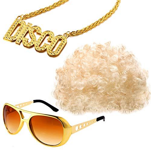 Conjunto Disfraces Hippies Peluca Afro Moda Collar