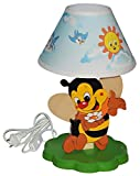 hochwertige Tischlampe aus Holz - Biene - 37 cm hoch