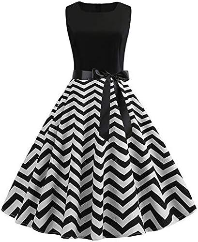 Auifor Frauen Vintage 50er Jahre Retro ärmellose O Neck Print Abend Party Prom Swing Dress