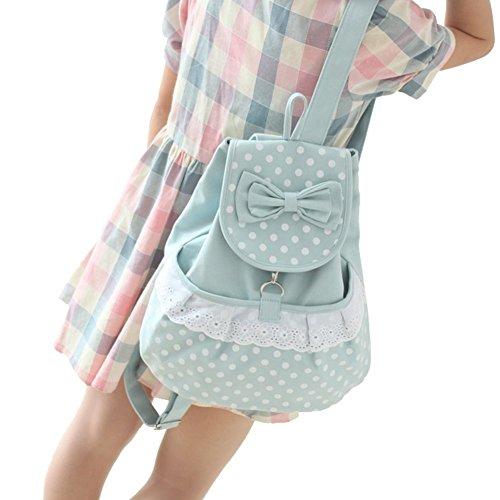 Inwagui Mädchen Damen Canvas Satchel Rucksack Laptop Schultasche Rucksäcke School Bag lässig Tasche Daypack-Kaffee Hellblau
