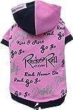 Doggy Dolly FP-W242 Kapuzenshirt für Mops und Französische Bulldogge Rock&Roll, rosa, Größe : M